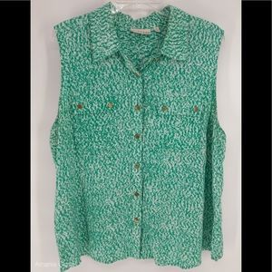 Kenar Green sleeveless blouse with gold buttons